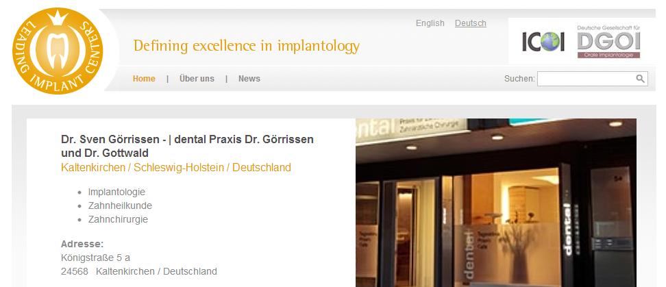 Dr. Sven Görrissen in Kaltenkirchen hat ein sehr hohes Zertifizierungsniveau für Orale Implantologie erreicht | has reached a very high and proven level of dental implantology.